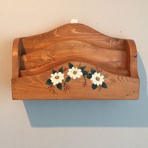 Vintage wood letter holder with painted flowers